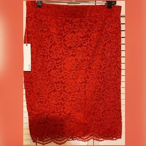 NWT! ELLE Red Lace Pencil Skirt
